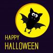 Stock Vector: Cute bat and moon. Happy Halloween card.