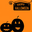 Vetorial Stock : Happy Halloween pumpkin card.