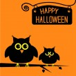 Stock Vector: Happy Halloween cute owls card.