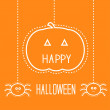 Happy Halloween card with hanging pumpkin and two spiders. — Stock Vector #30589405