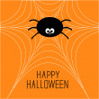 Vector de stock : Cute cartoon spider on the web. Halloween card.