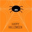 Aranha bonito dos desenhos animados na web. cartão de dia das bruxas — Vetorial Stock
