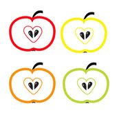 Set of color apples with heart shape. Isolate. — Stock Vector