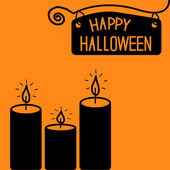 Happy Halloween candle card. — Stock Vector