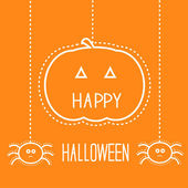 Happy Halloween card with hanging pumpkin and two spiders. — Stock Vector
