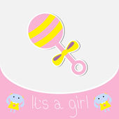 Pink rattle. Baby girl shower card — Stock Vector