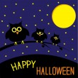 Three cute owls. Starry night and moon. Happy Halloween card. — Stock Vector
