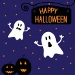 Two funny Halloween ghosts and pumpkins. Starry night. Card. — Stock Vector