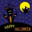 Haunted house and bat. Starry sky and moon. Happy Halloween card — Stock Vector
