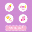 Baby girl shower card with bottle, horse, rattle and sock. — Stock Vector