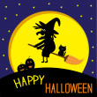 Flying black witch and cat. Big moon. Happy Halloween card. — Imagen vectorial