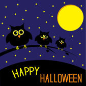 Three cute owls. Starry night and moon. Happy Halloween card. — Stockvektor