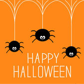 Three hanging spiders. Happy Halloween card. — Stock Vector