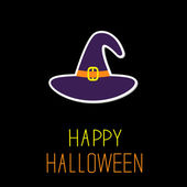 Violet witch hat. Happy Halloween card. — Vector de stock