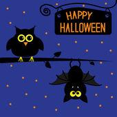 Happy Halloween owl and bat card. — Stock Vector