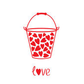 Love bucket with hearts inside. Card — Stock Vector