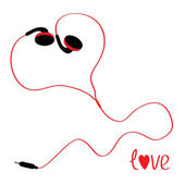 Black and red earphones in shape of heart. White background. — Stock Vector