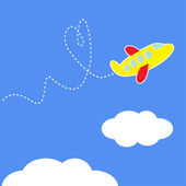 Cartoon plane. Dash heart in the sky. Love card. — Stock Vector
