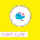 Congratulations card with cute blue bird — Vettoriale Stock