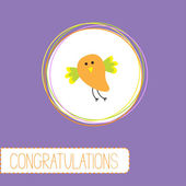 Gefeliciteerd kaart met schattige oranje vogel — Stockvector