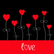 Vector love card. Heart flowers. Black and red. — Stockvectorbeeld