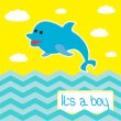 Baby boy shower card with cute dolphin — Stock Vector
