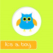 Stock Vector: Baby shower card with blue owl. It's a boy