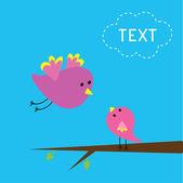 Flying bird and baby bird. Card. — Stock Vector