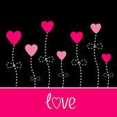 Carta de amor de vector. flores de corazón. negro y rosado. — Vector de stock