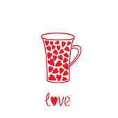 Love mug with hearts. Love card — Stock Vector
