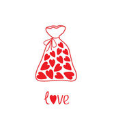 Love bag with hearts inside. Card — Stock Vector