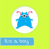 Baby shower card with monster. It's a boy — Stockvektor