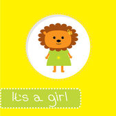 Baby shower card with lion. It's a girl — Stock Vector