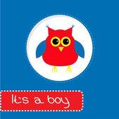 Cartão de chuveiro de bebê com coruja vermelha. É um menino — Vetor de Stock