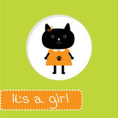 Baby shower card with cat. It's a girl — Stockvektor