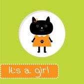Baby душ карты с кошкой. это девочка — Cтоковый вектор