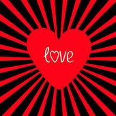Czerwone serce z sunburst. — Wektor stockowy