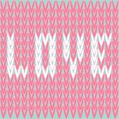 Gebreide trui vector patroon met woord liefde. kaart. — Stockvector