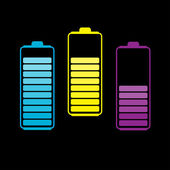 Set of three colorful batteries. — Stock Vector