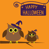 Happy Halloween card with owls. — Stock Vector