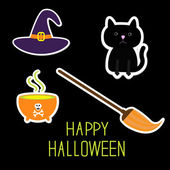 Happy Halloween witchs set. — Stock Vector