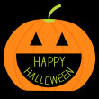 Big pumpkin with Happy Halloween text inside. Card — Imagen vectorial