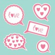 Stock Vector: Speech bubble set with hearts and word Love. Card