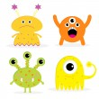 Set of four cute cartoon monsters. Isolated. Happy Halloween car — Stock Vector