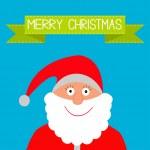 Santa Claus and green ribbon. Merry Christmas card. — Stock Vector #32115539