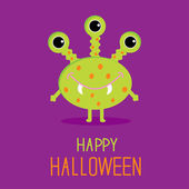 Niedliche cartoon grüne monster. happy halloween-card — Stockvektor
