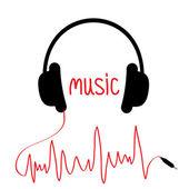 Černá sluchátka s červeným kabelem v tvaru kardiogram. Hudba auto — Stock vektor