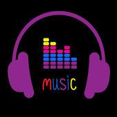 Cuffie viola, equalizzatore e colorato parola musica. scheda. — Vettoriale Stock