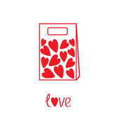 Love paper bag with hearts inside. Card — Vettoriale Stock