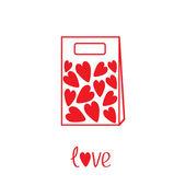 Sac en papier avec des coeurs à l'intérieur de l'amour. carte — Vecteur